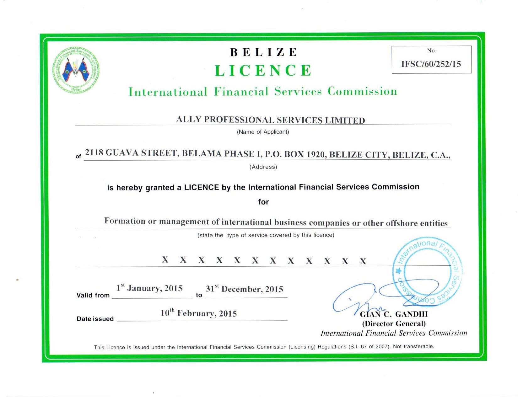 Ally Professional Services Ltd. BIFS Licence